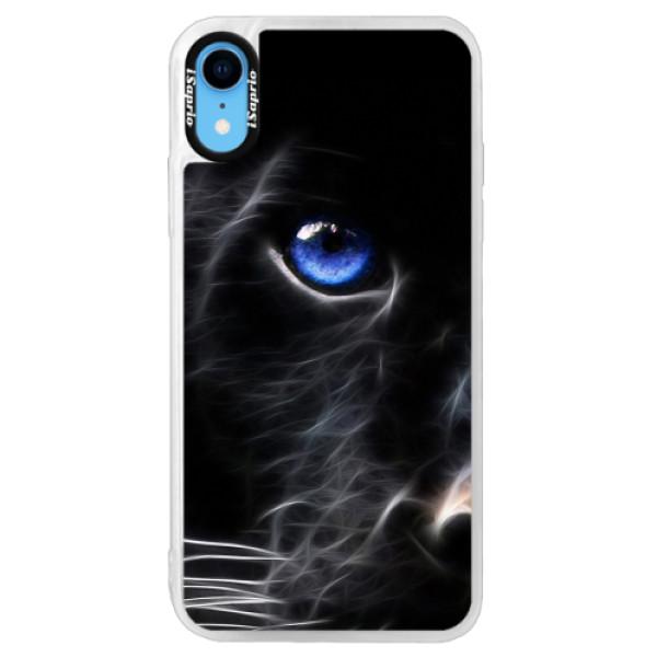 Neonové pouzdro Pink iSaprio - Black Puma - iPhone XR