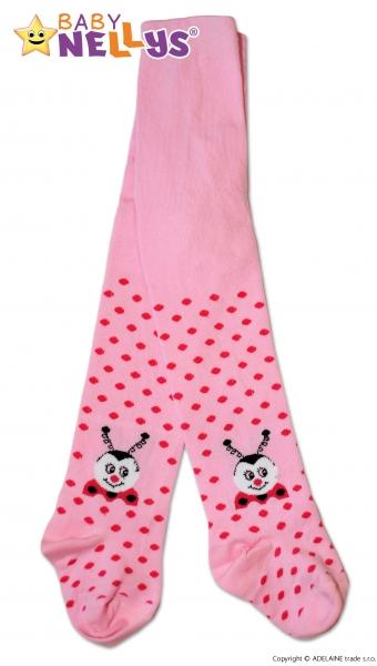 Bavlněné punčocháče Baby Nellys ® - Beruška růžové s puntíky, vel.