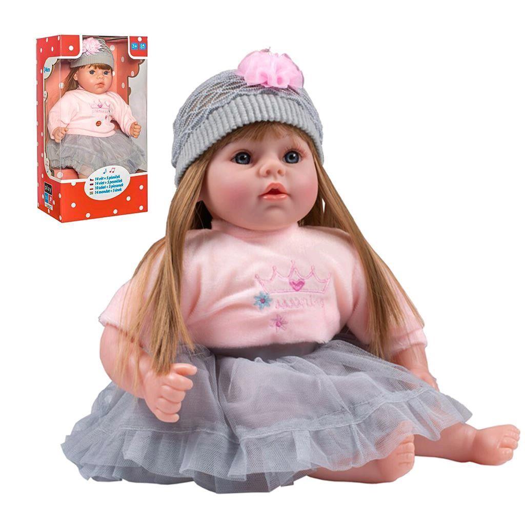- Slovensky mluvící a zpívající dětská panenka PlayTo Nina 46 cm - šedá