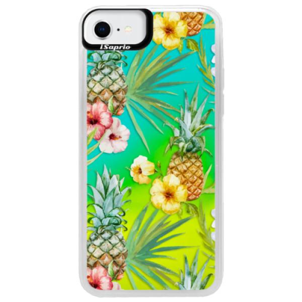 Neonové pouzdro Blue iSaprio - Pineapple Pattern 02 - iPhone SE 2020