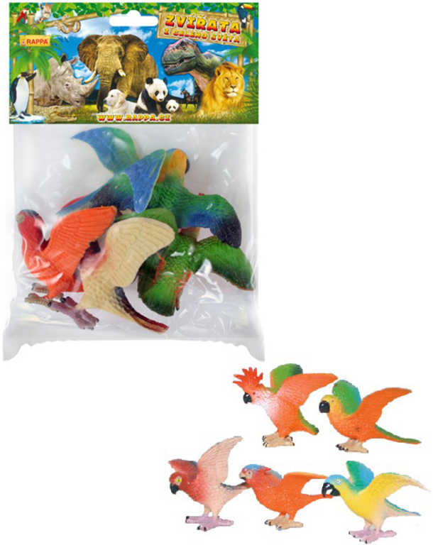 Papoušci set 5ks plastové figurky zvířátka v sáčku