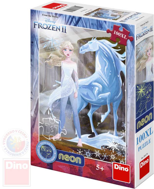 DINO Puzzle neon Frozen II (Ledové Království) 100 dílků svítí ve tmě skládačka