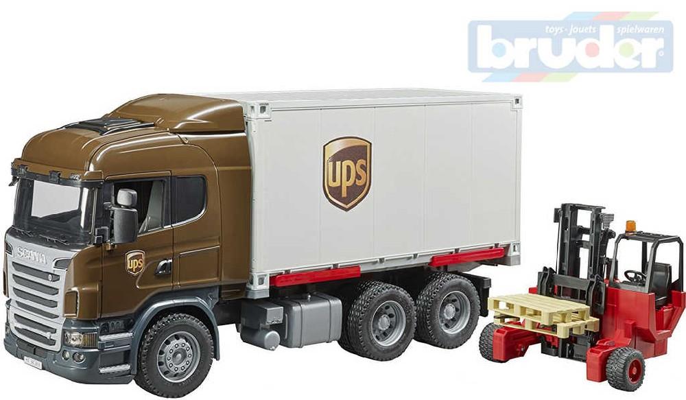 BRUDER 03581 Auto Scania R UPS přeprava peněz set s vozíkem a paletami