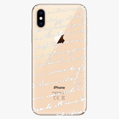 Silikonové pouzdro iSaprio - Handwriting 01 - white - iPhone XS