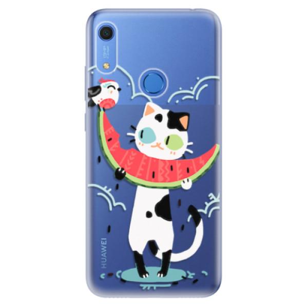 Odolné silikonové pouzdro iSaprio - Cat with melon - Huawei Y6s