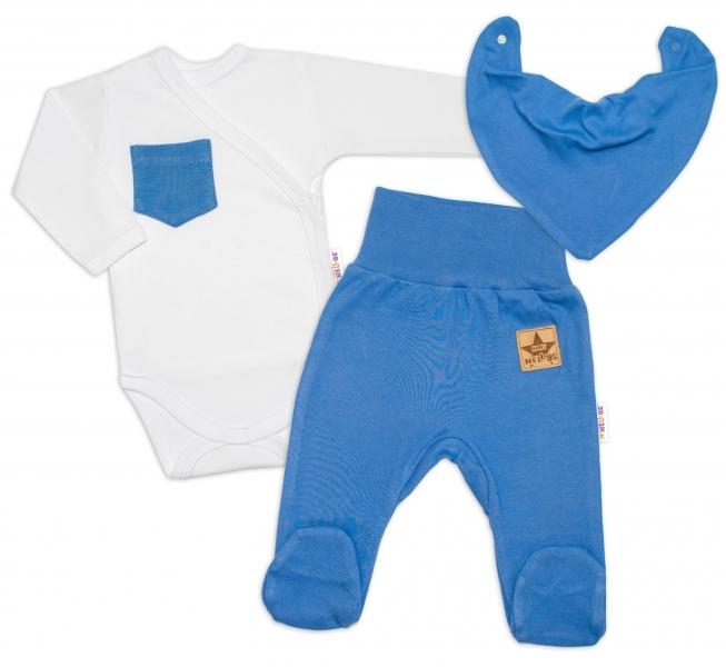 Baby Nellys 3-dílná sada Body dl. rukáv s kapsou, šátek, polodupačky, modrá