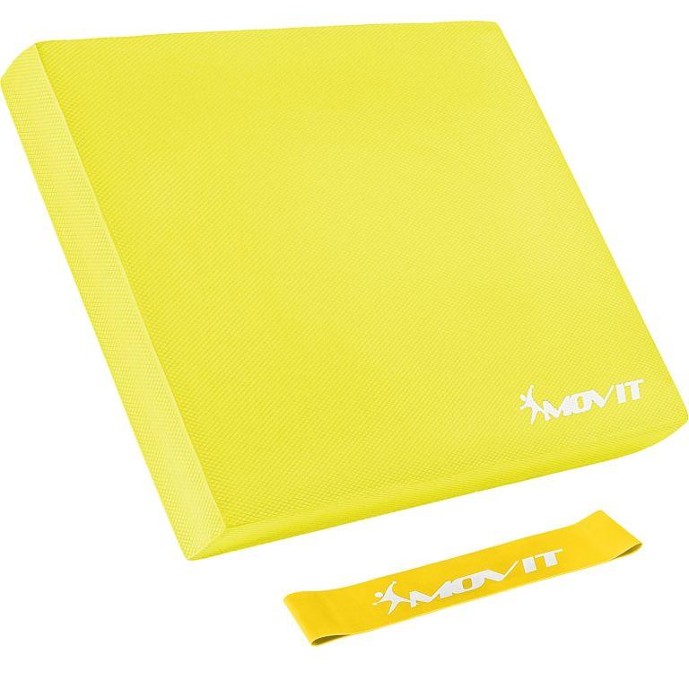 Balanční polštář s gymnastickou gumou - žlutý