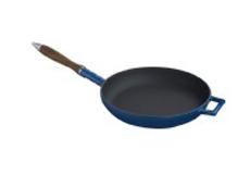 Litinová pánev s dřevěnou rukojetí 28cm - modrá