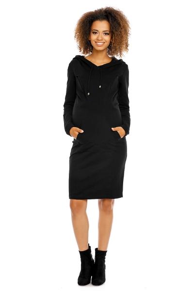 Těhotenské a kojící šaty s kapucí, dl. rukáv - černé