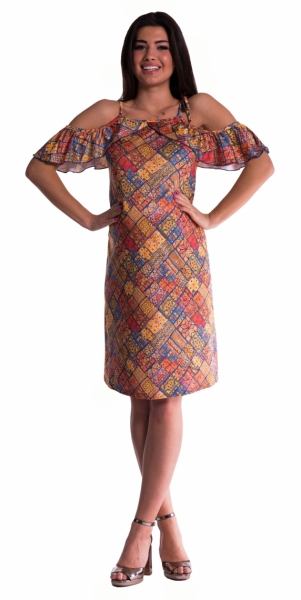 Těhotenské šaty s volánkovými rukávy - cihlové