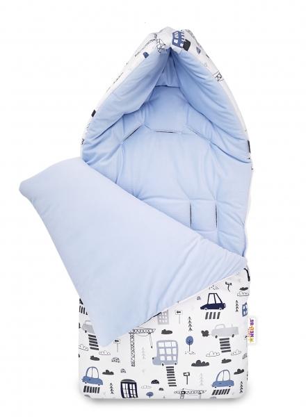 Bavlněný fusak Baby Nellys, velvet, Městečko, 47 x 95 cm - modrý