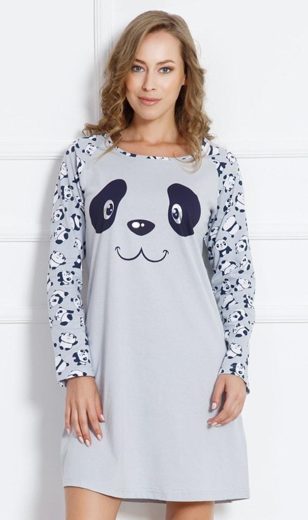 Dámská noční košile Panda Happy 3125 - Vienetta - Šedá s potiskem/2XL