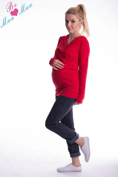 Be MaaMaa Těhotenská mikina s kapucí OLINA - červená