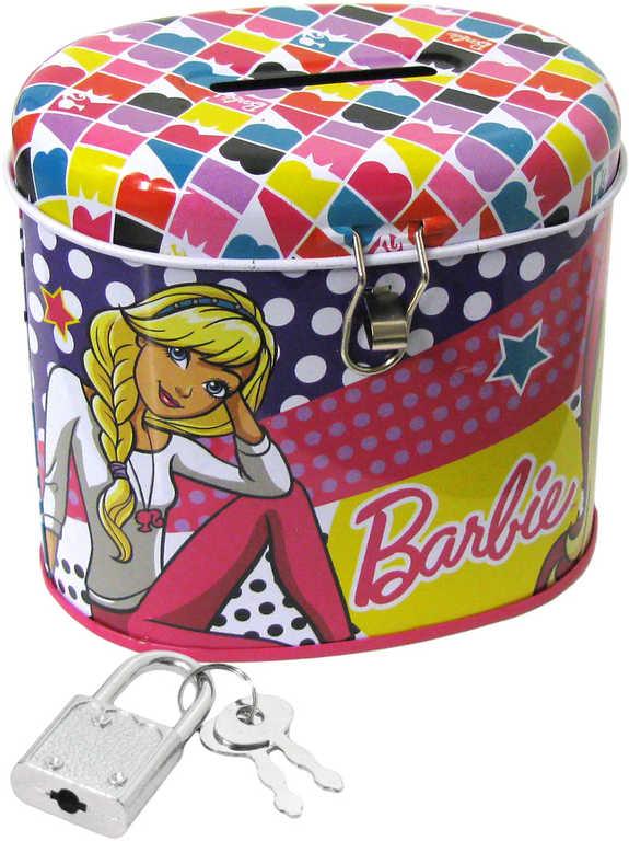 Pokladnička Barbie dětská kasička se zámkem a 2 klíčky ovál kov