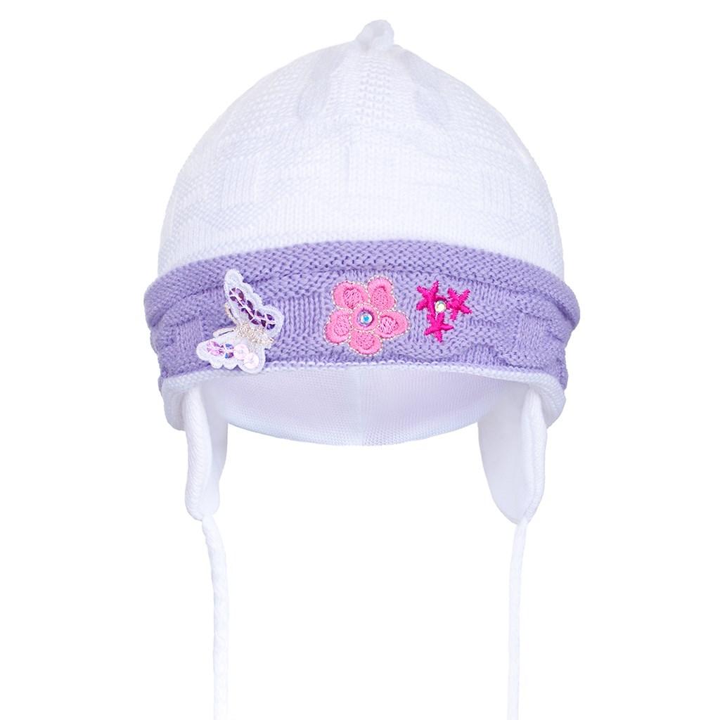 Pletená dětská čepička New Baby bílo- fialová/80 (9-12m)