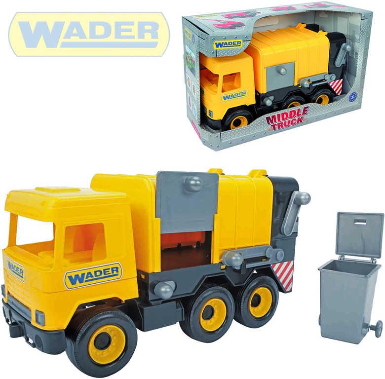 WADER Middle Truck auto popelář 37cm set s popelnicí žluté plastové 32123