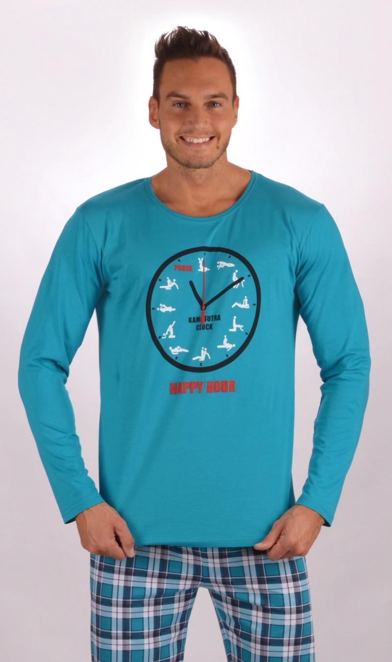 Pánské pyžamo dlouhé Kamasutra clock - Tyrkysová