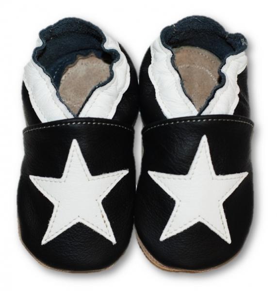 Kožené měkoučké botičky s bílou hvězdou