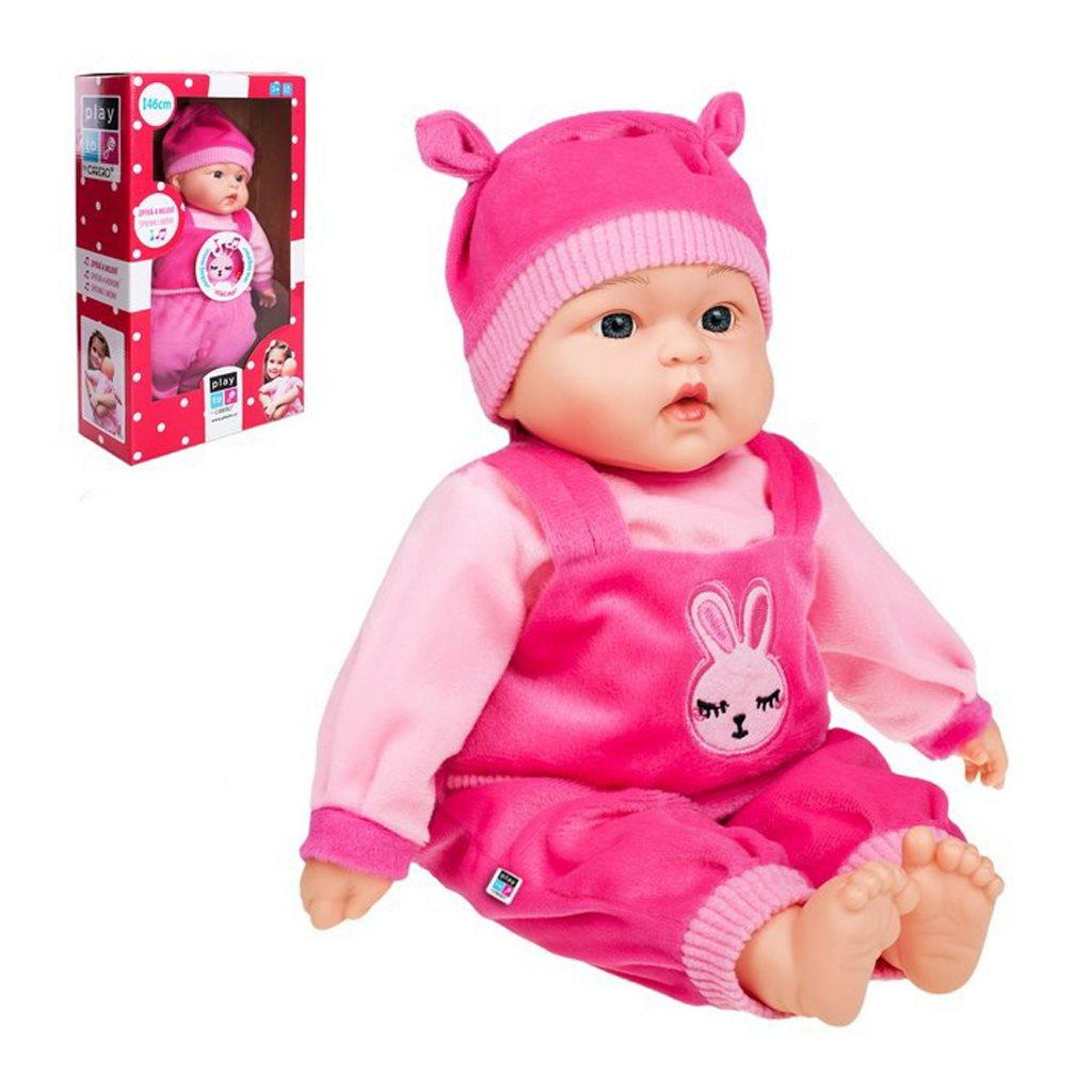 Slovensky mluvící a zpívající dětská panenka PlayTo - Katarínka 46 cm - růžová