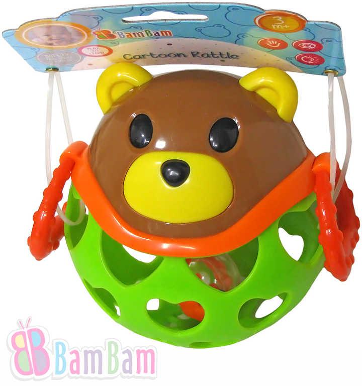 ET BAM BAM Baby Medvídek 12cm chrastítko koule pro miminko
