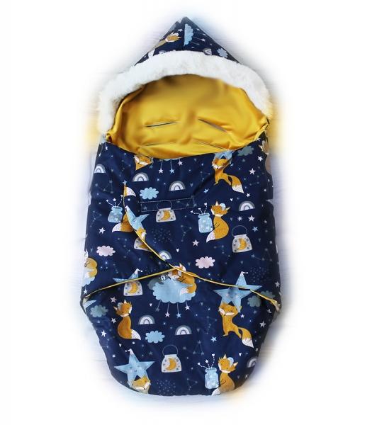 Baby Nellys zavinovací fusak s kožešinkou Velvet KRASNAL, délka 85 cm-liška a noční obloha