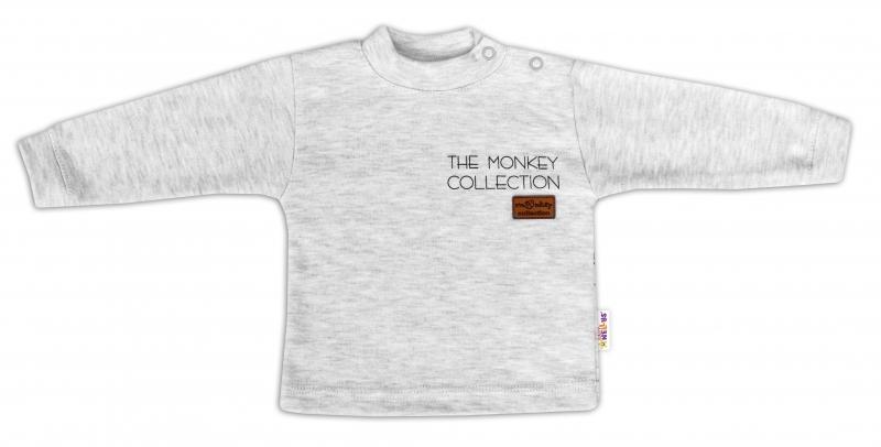 Baby Nellys Bavlněné tričko dlouhý rukáv Monkey - sv. šedý