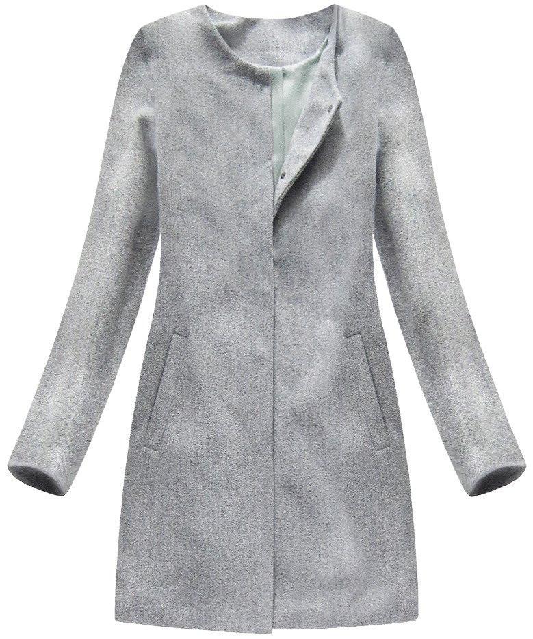Světle šedý minimalistický kabát (172ART)