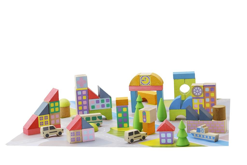 Jeujura Dřevěná stavebnice mini městečko 50 dílů