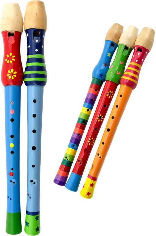 DŘEVO Flétna dětská malovaná 32cm různé druhy *HUDEBNÍ NÁSTROJE*