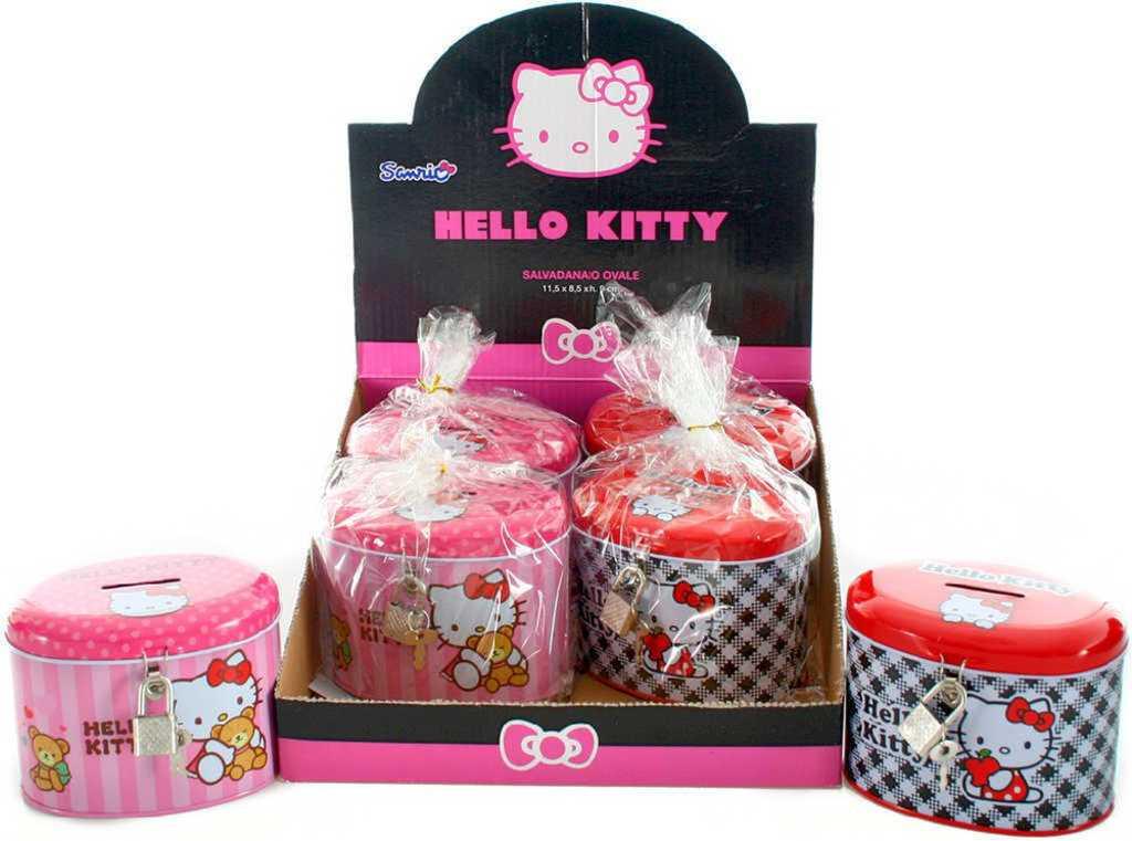 Pokladnička kovová dětská kasička Hello Kitty set s klíčky a zámkem 2 druhy