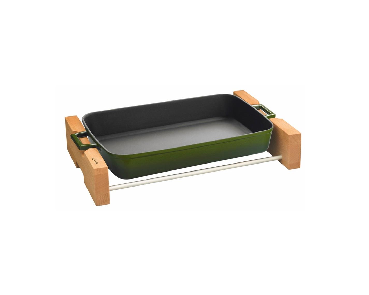 Litinový pekáč 22x30cm s dřevěným podstavcem - zelený