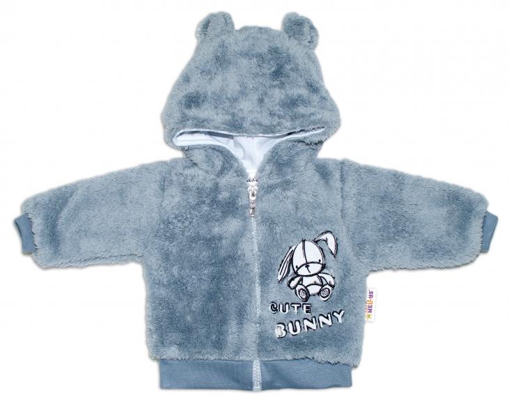 baby-nellys-kojenecka-chlupackova-bundicka-s-kapuci-cute-bunny-seda-vel-80-80-9-12m