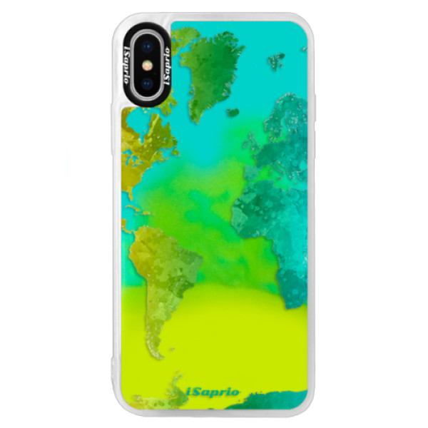 Neonové pouzdro Blue iSaprio - Cold Map - iPhone X