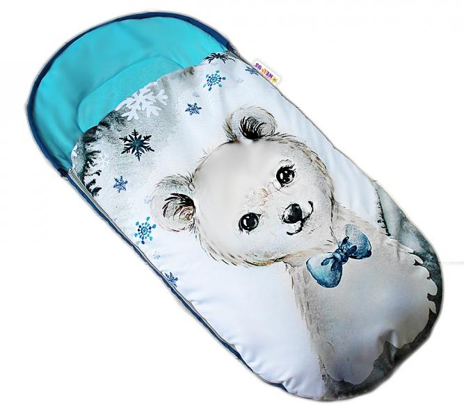 Dětský fusák Baby Nellys WINTER LUXURY velvet, 105 x 55 cm - medvídek / tyrkys