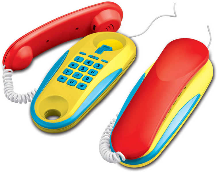 Telefon dětský pokojový tlačítkový sada 2 kusy Zvuk na baterie plast