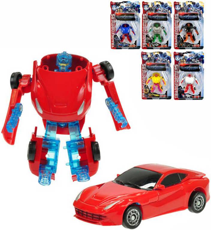 Auto sportovní s transformací 9cm transrobot volný chod 6 barev