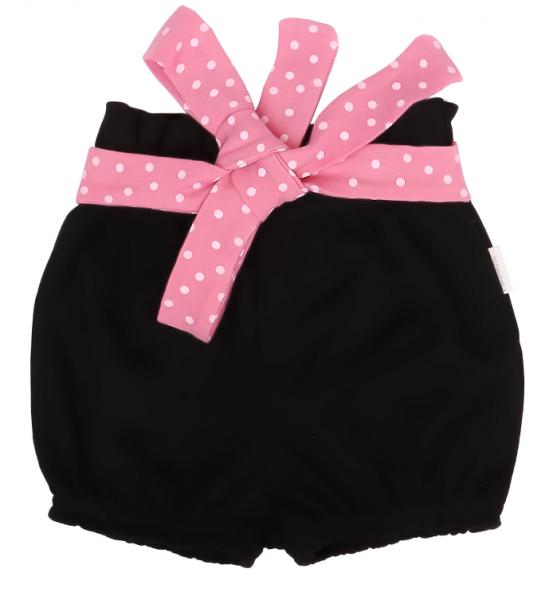 Mamatti Bavlněné kraťásky Princezna Puntík - černé s růžovou
