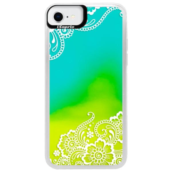 Neonové pouzdro Blue iSaprio - White Lace 02 - iPhone SE 2020
