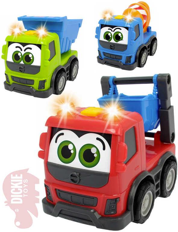DICKIE Baby autíčko pracovní Happy Volvo 13cm s očima na baterie Světlo Zvuk