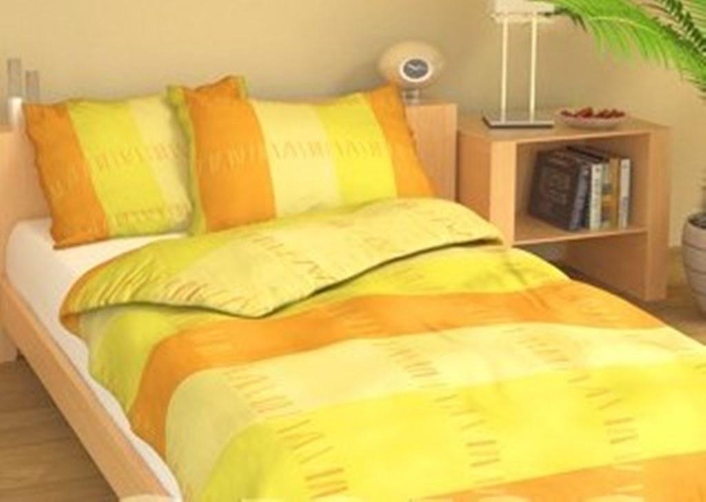 Prodloužené povlečení bavlna 140x220, 70x90cm Duha žlutá, Výběr zapínání: zipový uzávěr