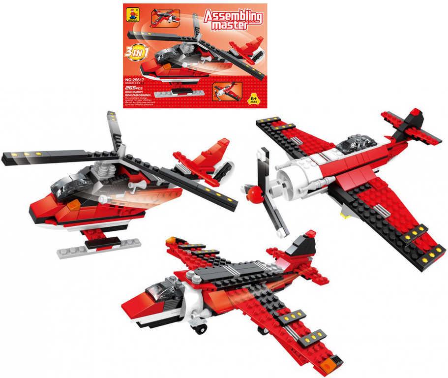 AUSINI Stavebnice ASSEMBLING 3v1 vrtulník letadla 265 dílků plast