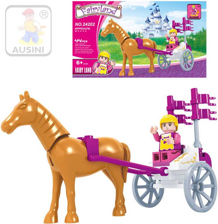 AUSINI Stavebnice POHÁDKOVÁ kočár s koněm sada 44 dílků + 1 figurka plast