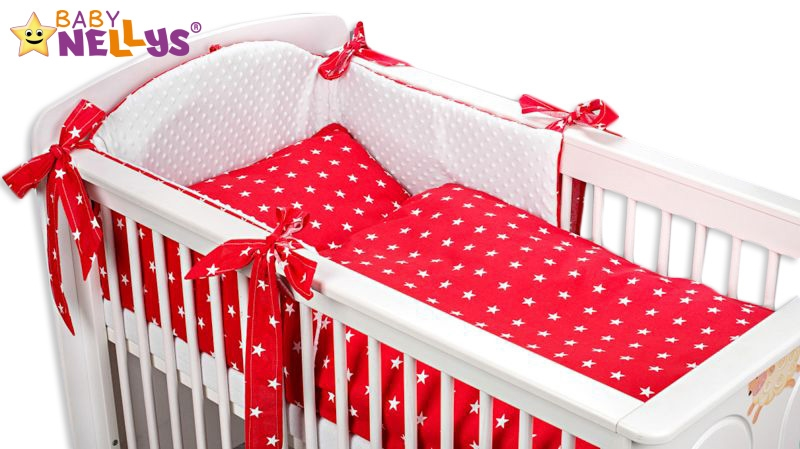 Baby Nellys Mantinel s povlečením MINKY BABY - červené hvězdičky - 135x100