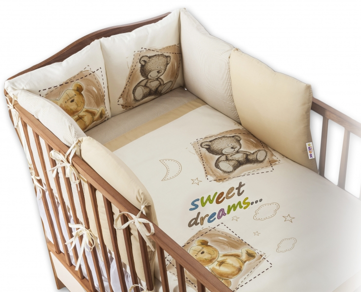 Povlečení s polštářkovým mantinelem Sweet Dreams by TEDDY - piskový - 120x90