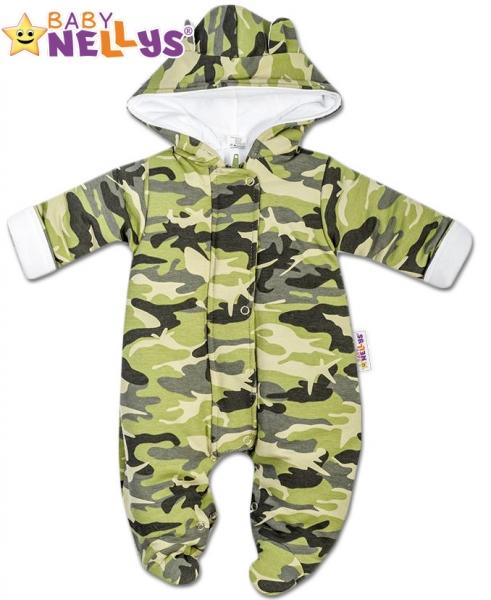 Kombinézka s kapuci a oušky ARMY Baby Nellys ® maskač zelený - 62 (2-3m)