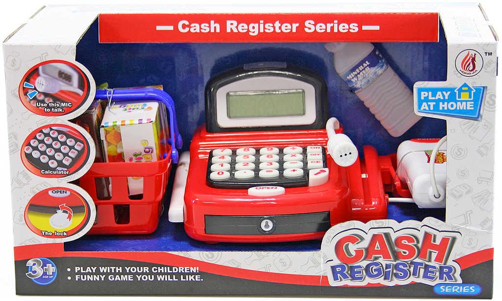 Pokladna na baterie set dětská kasa se skenerem a košíkem s potravinami plast
