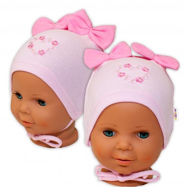 Bavlněná čepička na zavazování Baby Nellys s mašličkami - sv.
