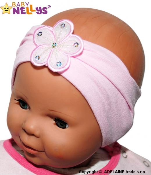 Čelenka Baby Nellys ® s květinkou - sv. růžová - 38/40 čepičky obvod/48/50 čepičky obvod