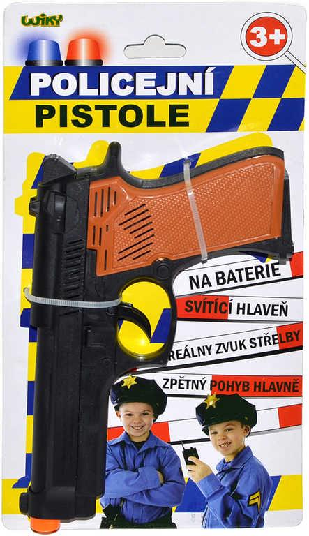 Pistole policejní plastová dětská 19cm Světlo Zvuk na kartě