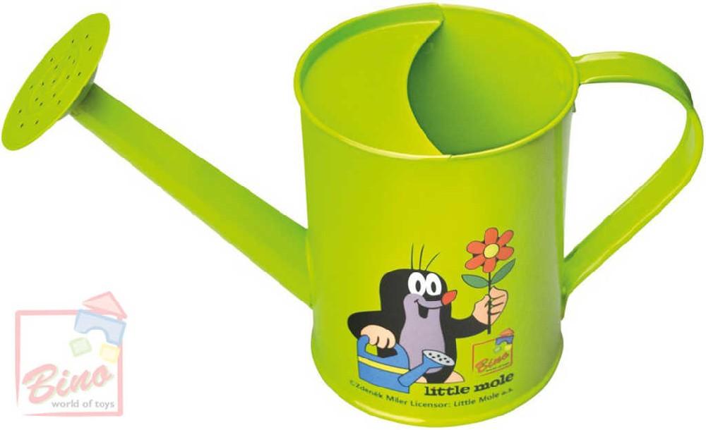 BINO KRTEK Konvička dětská kovová Krteček zahradní konvička zelená